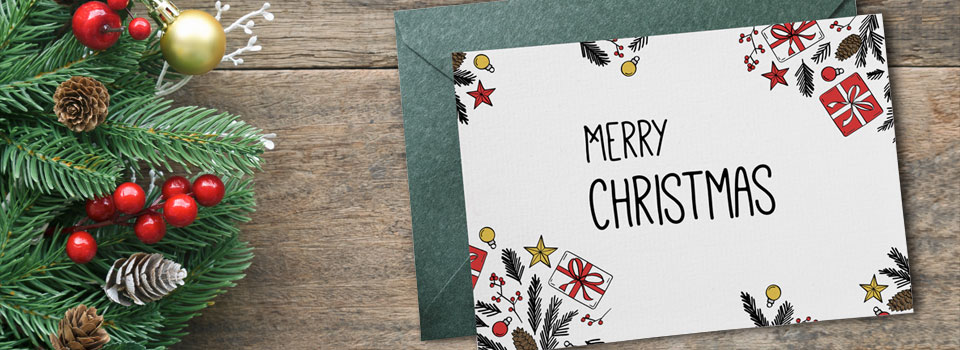 Choose well-priced company Christmas card printing services from Asset Print